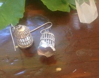 Tiny birdcage earrings