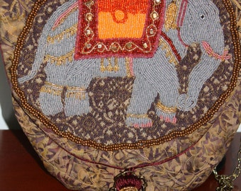 Hand Beaded Purse Elephant Going to a Party
