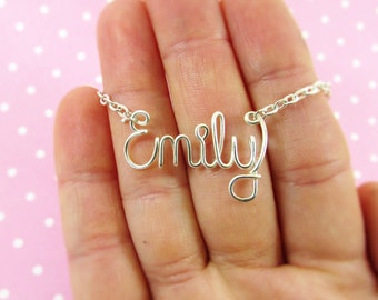 Wire Wrap Custom Name Necklace, Personalized Name Necklace, Silver,  Gold,  Copper, Bridesmaid Necklace Bridesmaid Gift, Friendship Necklace