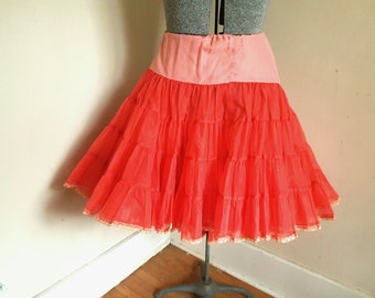 Vintage Red Petticoat 1950's Crinoline XXL