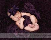 Plum Purple Large Bow Headband - Big Baby Bow Headband - Big Bow Newborn Headband - Messy Bow Headband - Dark Purple - Bow Headband