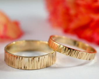 Yellow Gold Bark Wedding Bands: A Set of his and hers 9k Yellow Gold wedding rings
