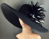 Black Funeral Hat Formal Hat Special Occasion $59.97 AT vintagedancer.com