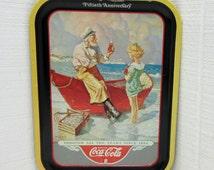 Vintage Coca-Cola Tray Fiftieth Anniversary Sea Captain 1987 Coke-Cola Advertising Tray