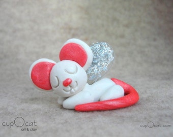 Mouse Nap - A Happy Napping Mouse Fairy (White and pink mouse with silver wings)