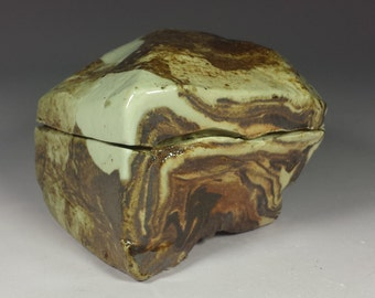 Small ceramic jewelry box. Soda fired treasure jar.  Soda fired ceramic box.  Little Lidded box.