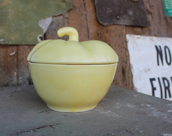 California Pottery Yellow Apple Dish // Ceramic Covered Bowl
