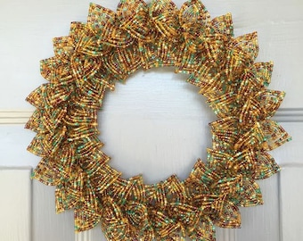 Natural Turquoise Blend French Beaded Decorative Wreath (X-Small)