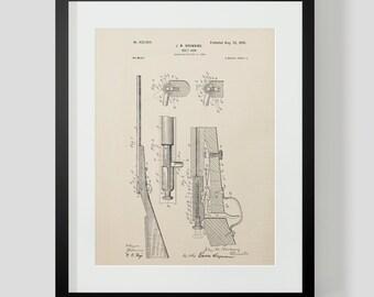 Vintage Browning Rifle Gun Patent Print