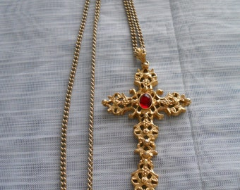 Gold Cross Necklace - Avon, jewelry, necklace, vintage