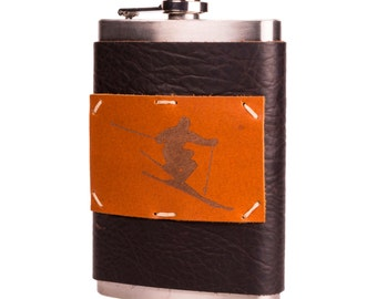 Midnight Espresso 8 oz Leather Flask with Skier (F8-31)