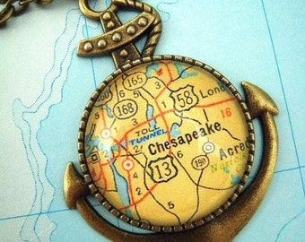 Custom Map Jewelry, Chesapeake Virginia, Vintage Map Anchor Pendant Necklace, You Pick the Location, Sailing Jewelry, Gift Ideas