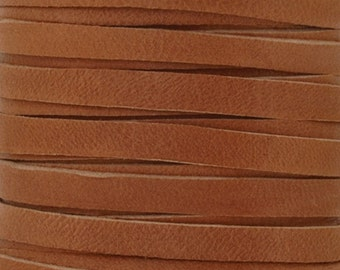 Leather Lace-5mm Deerskin Lace-Saddle Tan-2 Yards
