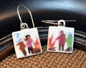 Skaters by the Pond -  Recycled Broken China Plate Earring Set - Gift Set