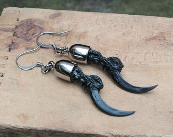 crow claw replica earrings - resin + pewter