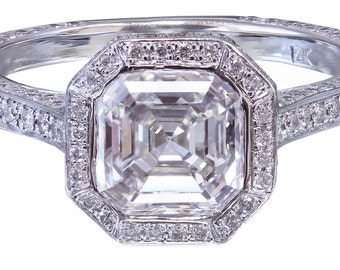 14K White Gold Asscher Cut Diamond Engagement Ring Bezel 2.25ctw H-VS2 EGL USA