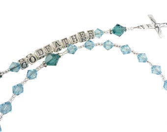 Godfather Rosary- Godmother - Personalized Name Prayer Beads-crystal birthstone-swarovski- Baptism- Pearl- Christening- First Communion
