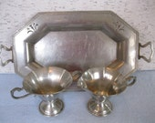 Pewter Serving Set / Sugar and Creamer With Serving Tray / Presidential Pewter Co