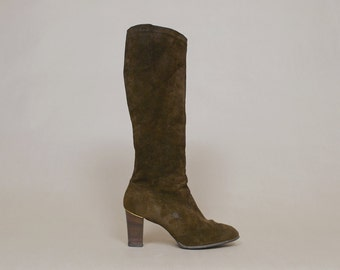 70s Boots Chocolate Brown Suede High Heel Tall 1970s Gogo Mod Hippie / Size 9