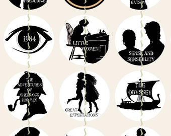 "Movie Silhouettes Magnets, Classic Movie Magnets, Classic Movie Pins, Movie Cabochons, Movie Party Favors, Literary Magnets, 1"", 12 ct"