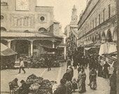 RESERVED LISTING (NJ) Antique Venice Postcard Black and White Image of Fruit Market – Venezia S Giacometto di Rialto e Mercato delle Frutta