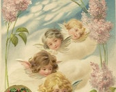 RESERVED LISTING (SABINE) Beautifully Embossed Vintage Christmas Postcard Angel Faces in the Clouds with Lilac Branches