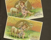 RESERVED LISTING (NJ) Pair Embossed Vintage Easter Postcards Angel With Lamb Bright Sunshine and Spring Flowers Tender Spring Scene 1909