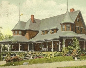 Pavilion Glen Oak Park PEORIA Illinois 1909 Antiuqe Postcard - Wonderful Historic View