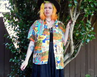 70s/80s Neon Hawaiian Psychedelic Novelty Jam's World Rayon Button Up L