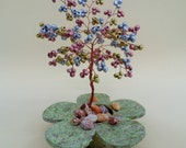 wire tree sculpture,  beaded tree  , bonsai tree, tree of life , feng shui tree , metalic beads tree
