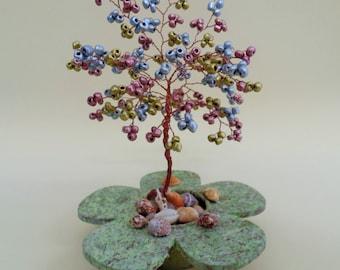 wire tree sculpture,  beaded tree  , bonsai tree, tree of life , feng shui tree , metalic beads tree