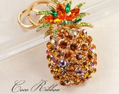 Alloy Gold Pineapple Rhinestone Pendant Charm Key Chain Ring Keychain