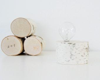 white birch forest lamp - natural wooden lamp, rustic lamp, desk lamp, table lamp, rustic lighting, natural lighting, night light