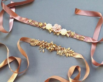 Belt - Hand cut metal flower and cabochon sash