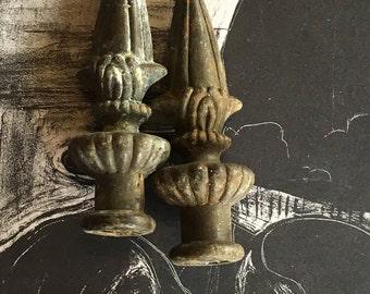 2 Vintage Finials - DIY Restoration Altered Art Mized Media Supply - Fresh Los Angeles Finding