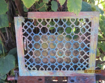 Victorian Era Cast Iron Heat Grate - Rusty Symmetry - Architectural Salvage - Hand - painted - Garden Art - Garden Sculpture