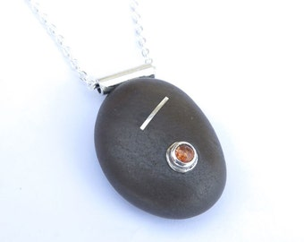 Unique Jewelry OOAK Special Handmade Black Beach Pebble Pendant with Sun Stone , Beach Stone with Sterling Silver Tube on Chain 925 Necklace