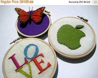 On Sale LOVE Apple Butterfly hand embroidered hoop art home decor housewarming gift office cubicle wall decoration by mlmxoxo