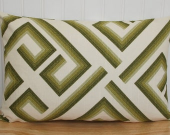 Green Geometric Pillow Cover, Green Geometric Throw Pillow, Green 12x18 Lumbar Pillow, Green Geometric Cushion Cover