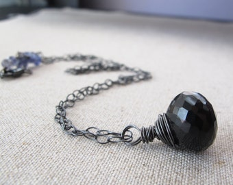 Faceted Black Spinel Oxidized Sterling Silver Necklace with Iolite