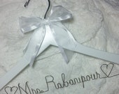 Bride Wedding Dress Hanger FREE SHIPPING White Hanger Personalized Custom Name - Bridal Party Bridesmaid Gifts Silver  USA made and shipped