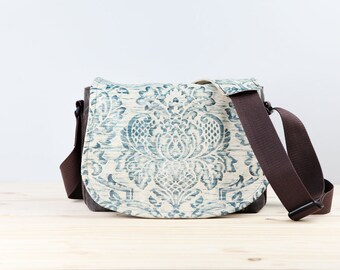 Creme Damask Leather Camera Bag Satchel DSLR - PRE-ORDER
