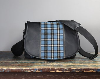 Medium - Leather Camera Bag New Satchel  -  Plaid Tartan Black leather Leather DSLR - IN STOCK