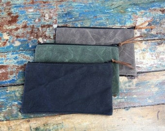 Waxed Canvas Zippered Pouch Set of Three Case Purse Holder Camera Card