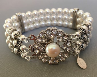 Pearl Bridal Bracelet with Rhinestone Clasp 3 multi strands Swarovski pearls in your choice of color wedding jewelry mother of the bride