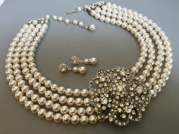Breakfast At Tiffanys Statement Wedding Necklace Set With