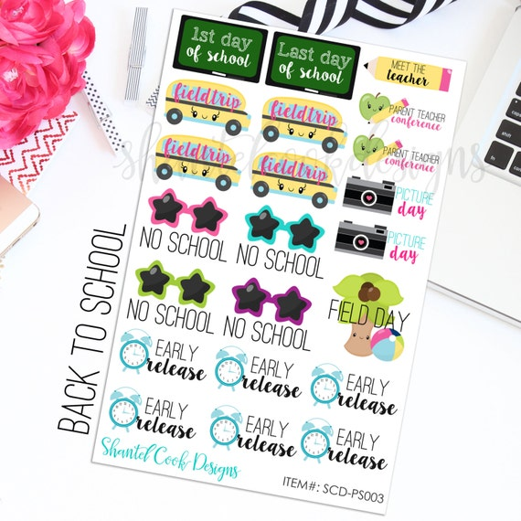 Back To School Sticker Set School Days By ShantelCookDesigns