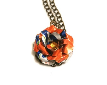 Recycled Sunkist Can Flower Necklace Teen Girl Gift Girlfriend Orange Trending Jewelry Sale Jewelry