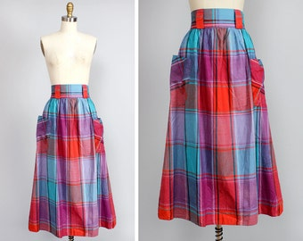 Red Plaid Skirt XS/S • Midi Skirt with Pockets • Tea Length Skirt • India Cotton Skirt • 80s Skirt • Knee Length Skirt • Fall Skirt  | SK649