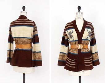 70s Earthy Boho Cardigan S/M • Sweater Cardigan with Bell Sleeves • Neutral Hippie Sweater    T364